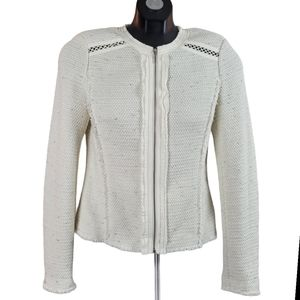 REBECCA TAYLOR Blazer Jacket Ivory Zip Up Fringe